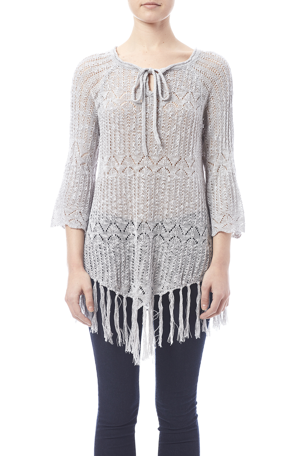 Oddi Grey Fringe Sweater - Side Cropped Image