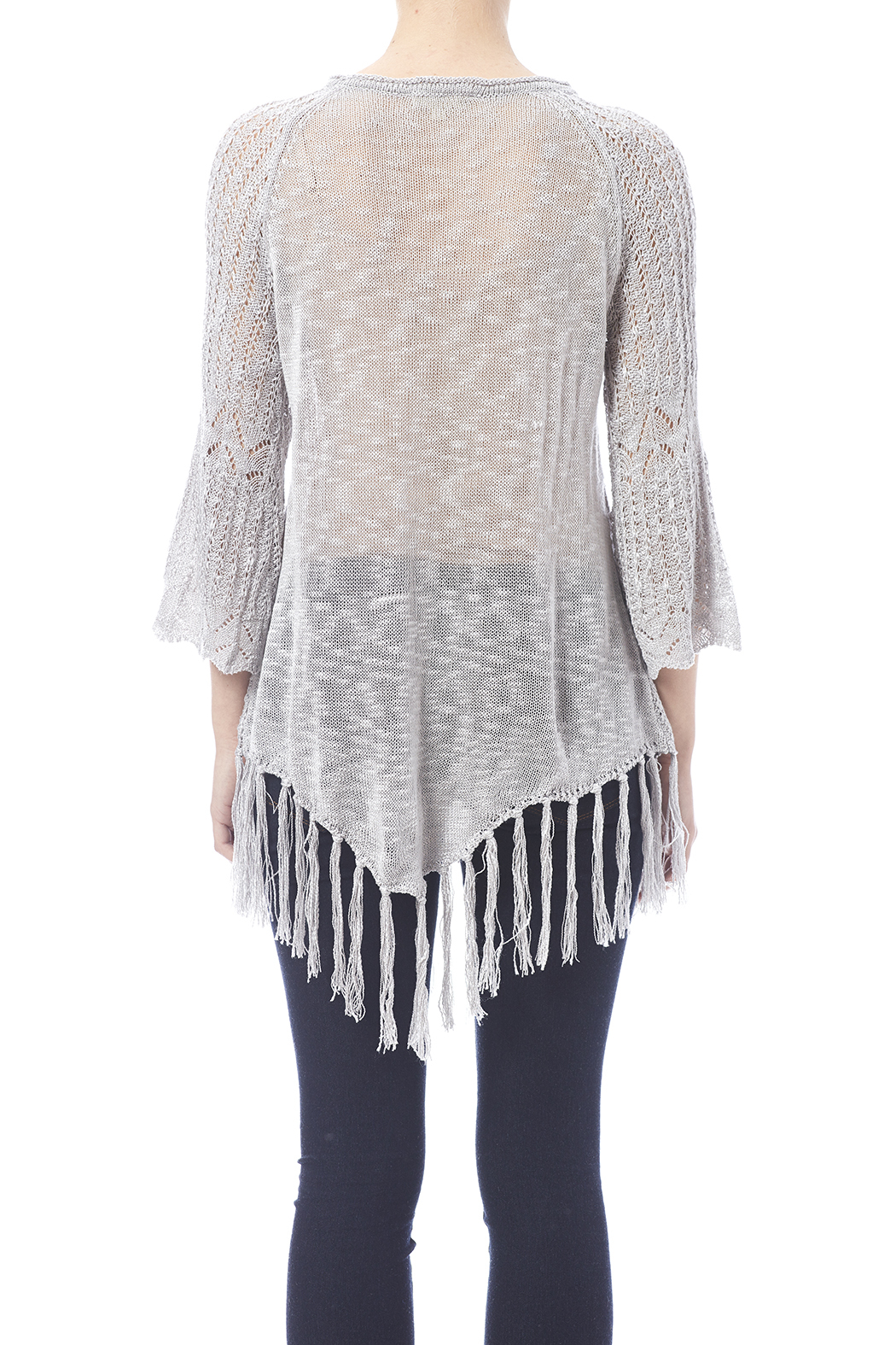 Oddi Grey Fringe Sweater - Back Cropped Image
