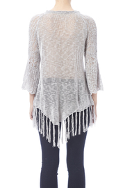 Oddi Grey Fringe Sweater - Back cropped