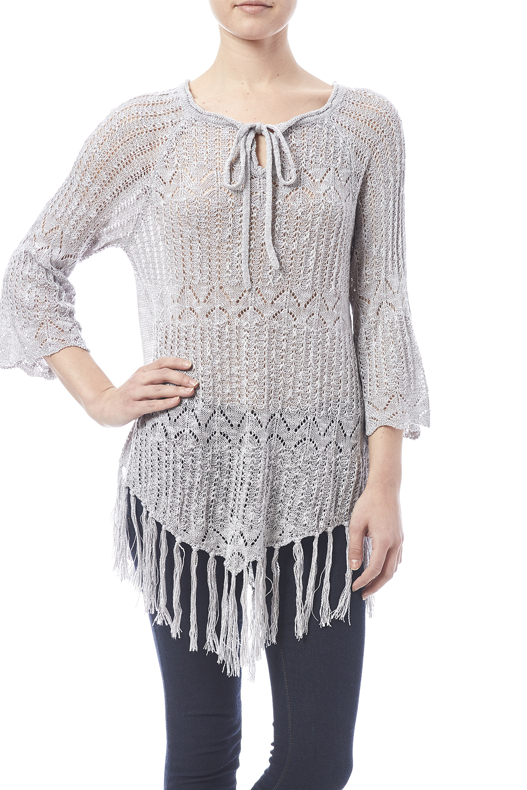 Oddi Grey Fringe Sweater - Front Cropped Image