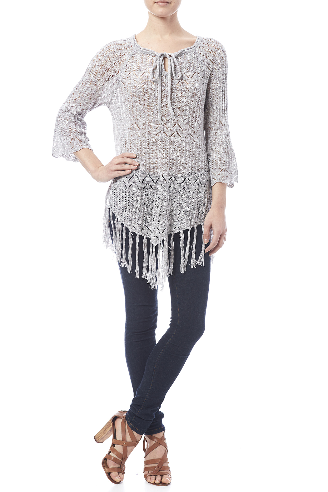 Oddi Grey Fringe Sweater - Front Full Image