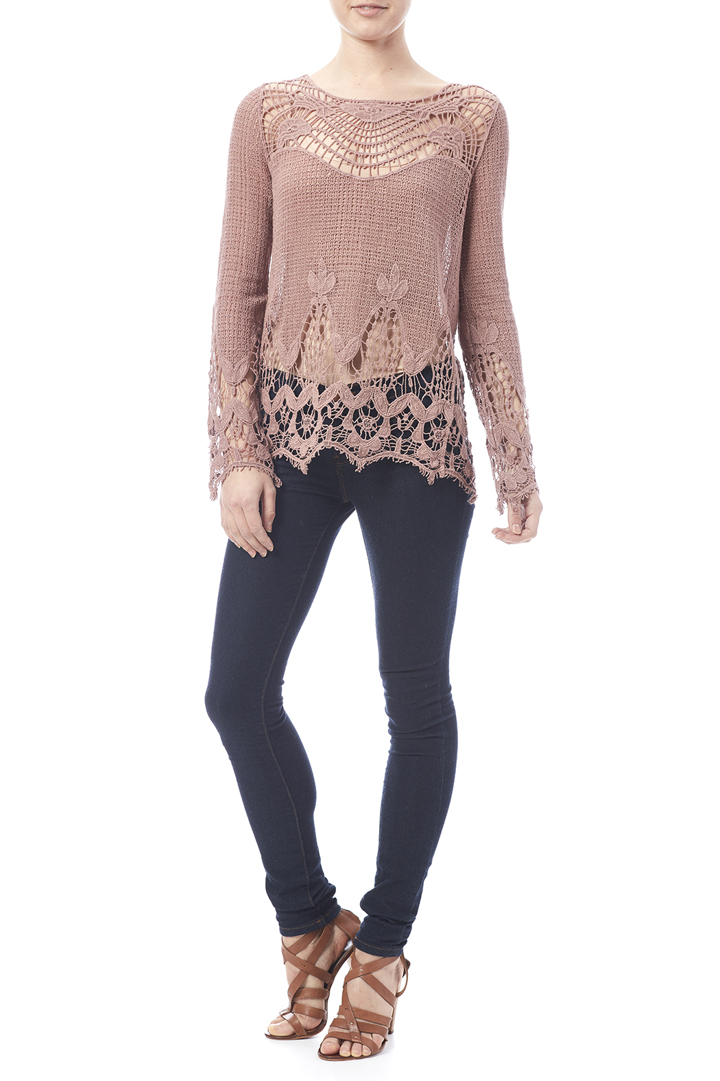Oddi Mauve Crochet Top - Side Cropped Image