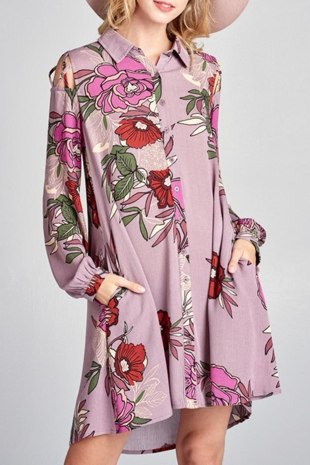 Oddi Mauve Floral Dress - Front Cropped Image