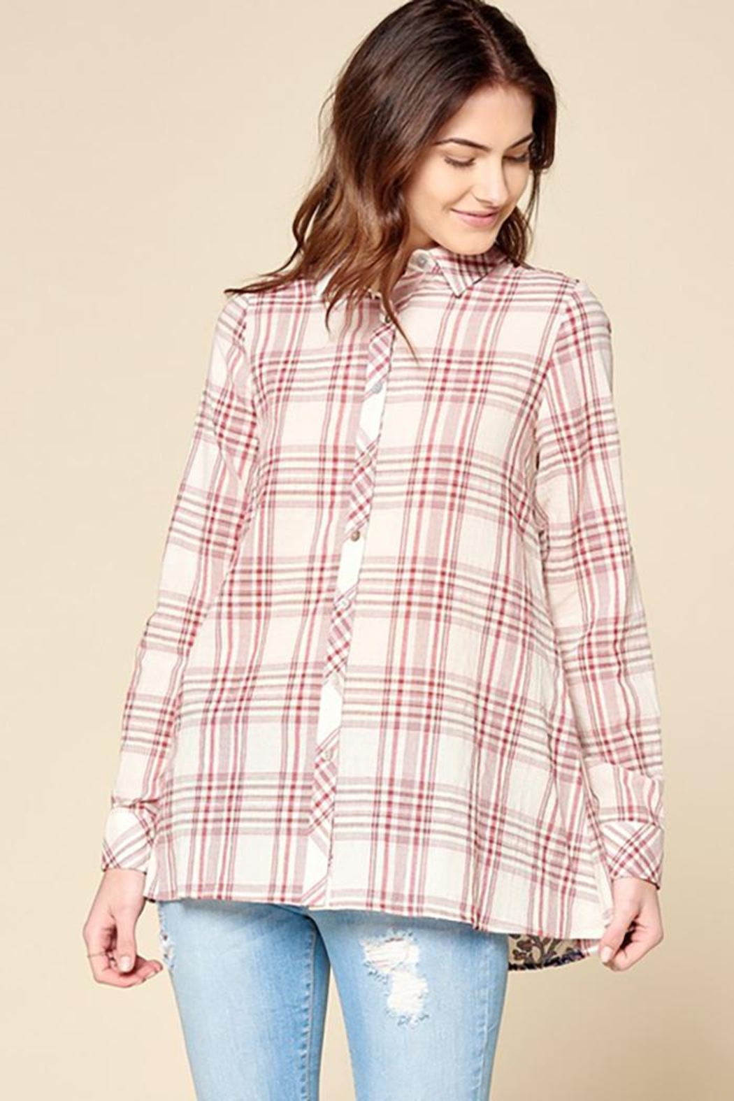 Oddi Plaid Button Down Shirt With Velvet Burn Out - Front Full Image