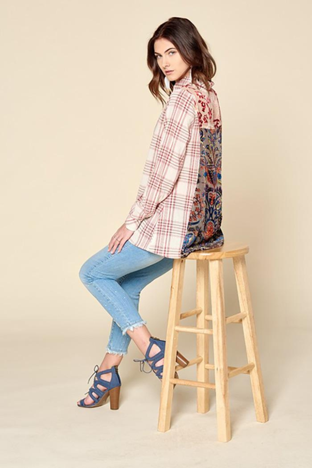 Oddi Plaid Button Down Shirt With Velvet Burn Out - Back Cropped Image