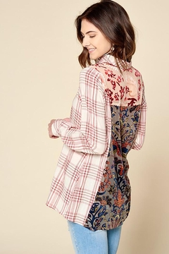Oddi Plaid Button Down Shirt With Velvet Burn Out - Product List Image