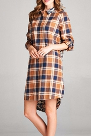 Oddi Plaid Button-Up Dress - Front cropped