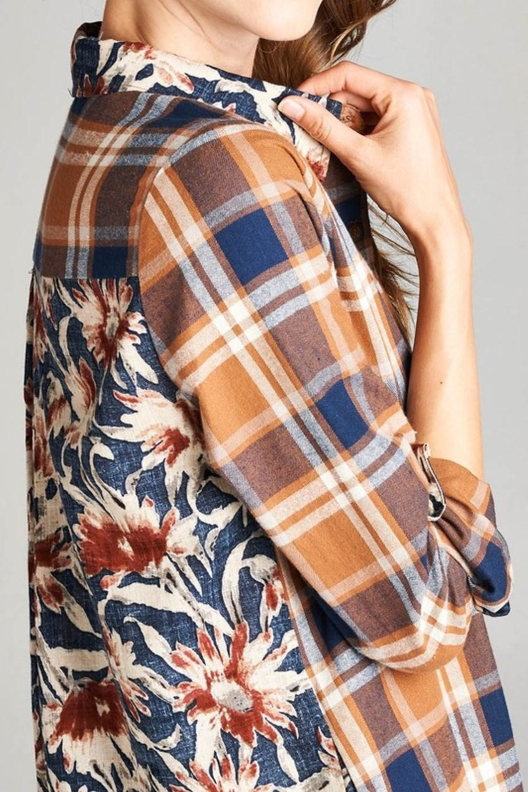 Oddi Plaid Button-Up Dress - Front Full Image