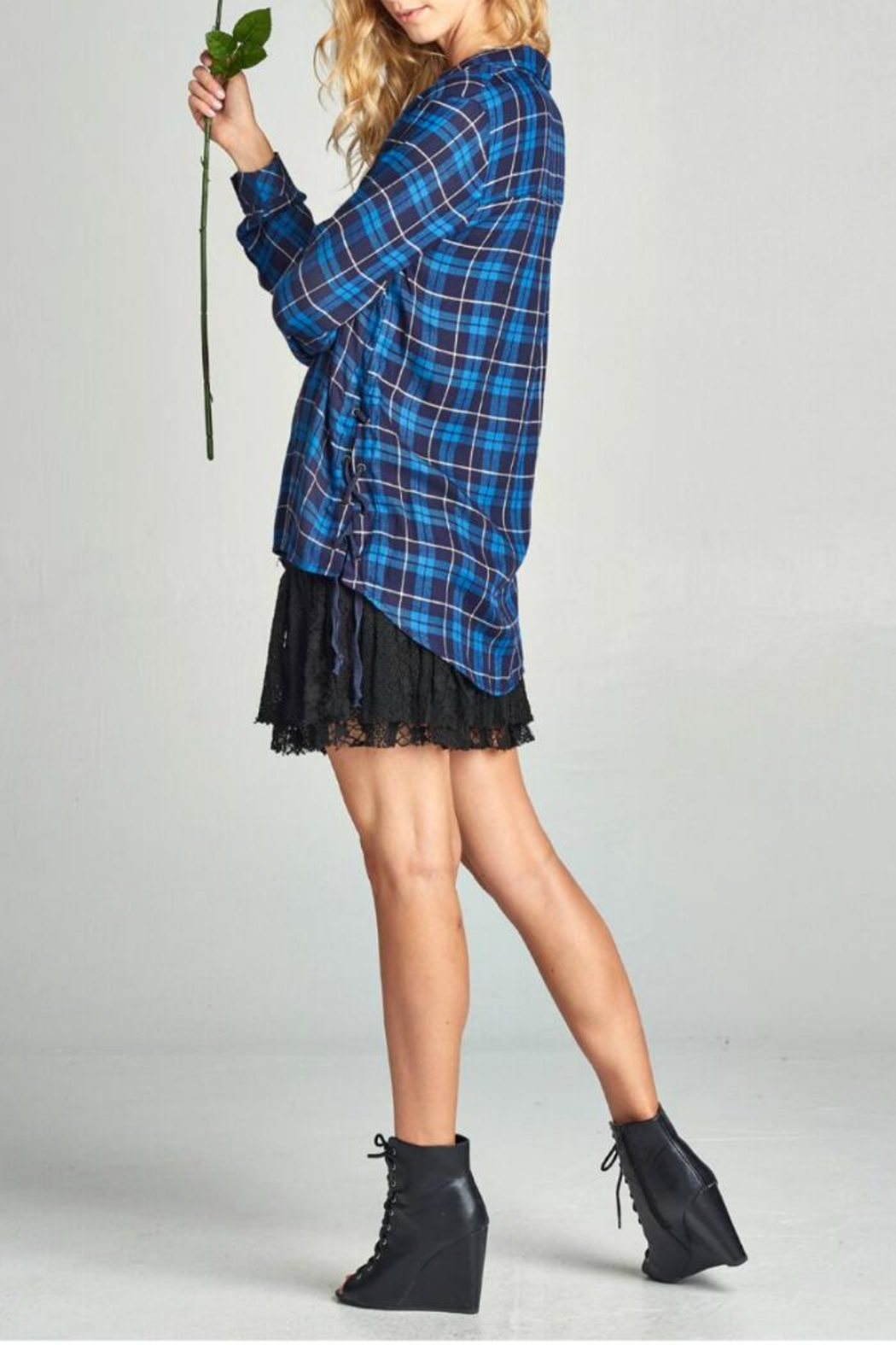 Oddi Plaid Lace-Up Side - Front Full Image