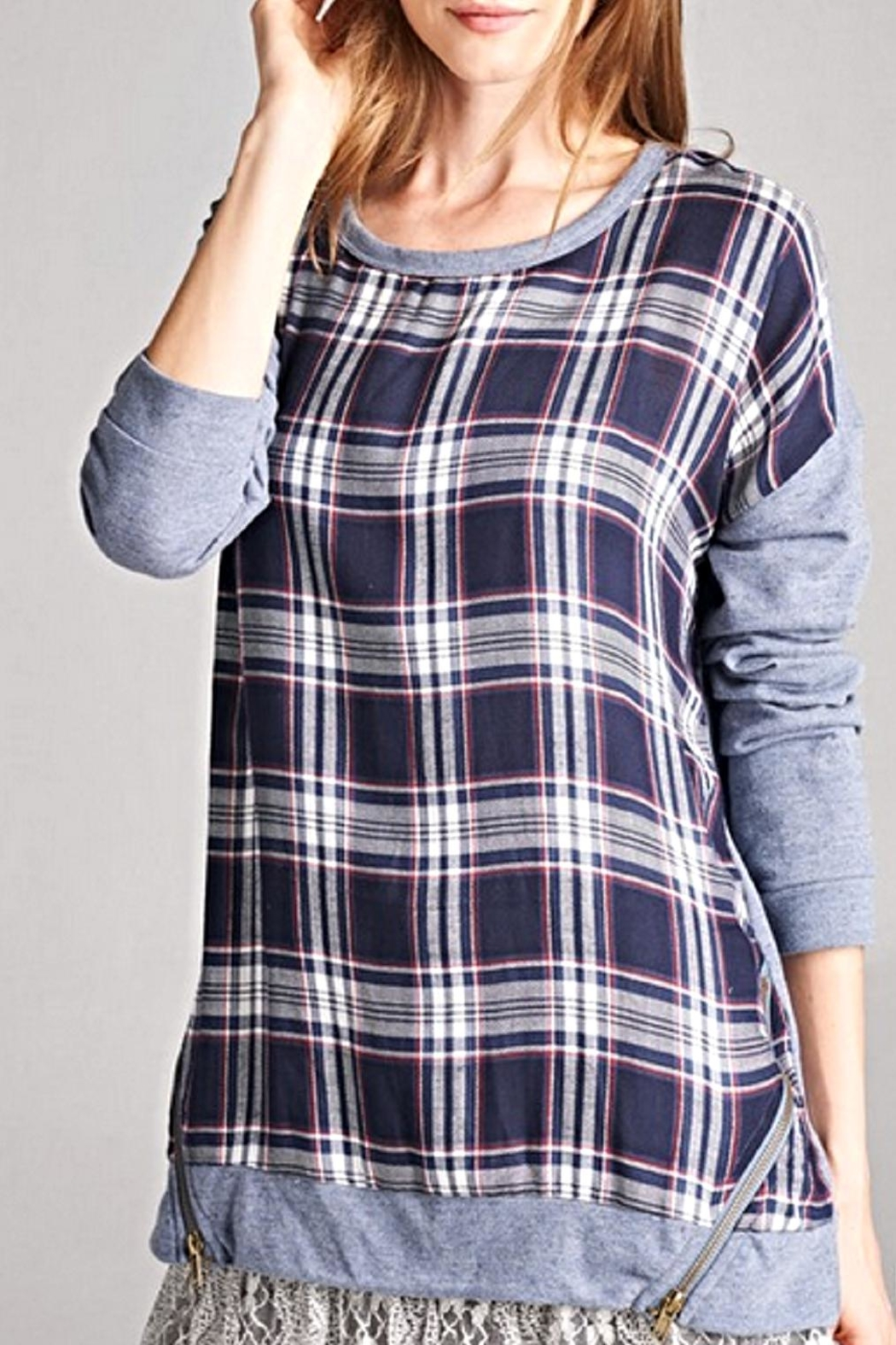 Oddi Plaid Pullover Top - Front Full Image