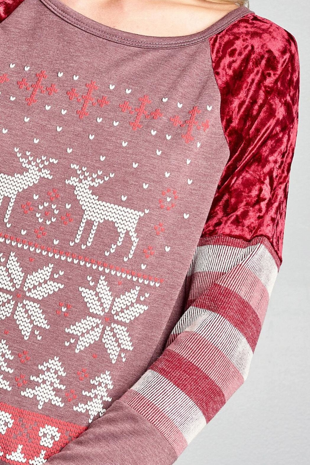Oddi Reindeer Raglan Top - Back Cropped Image
