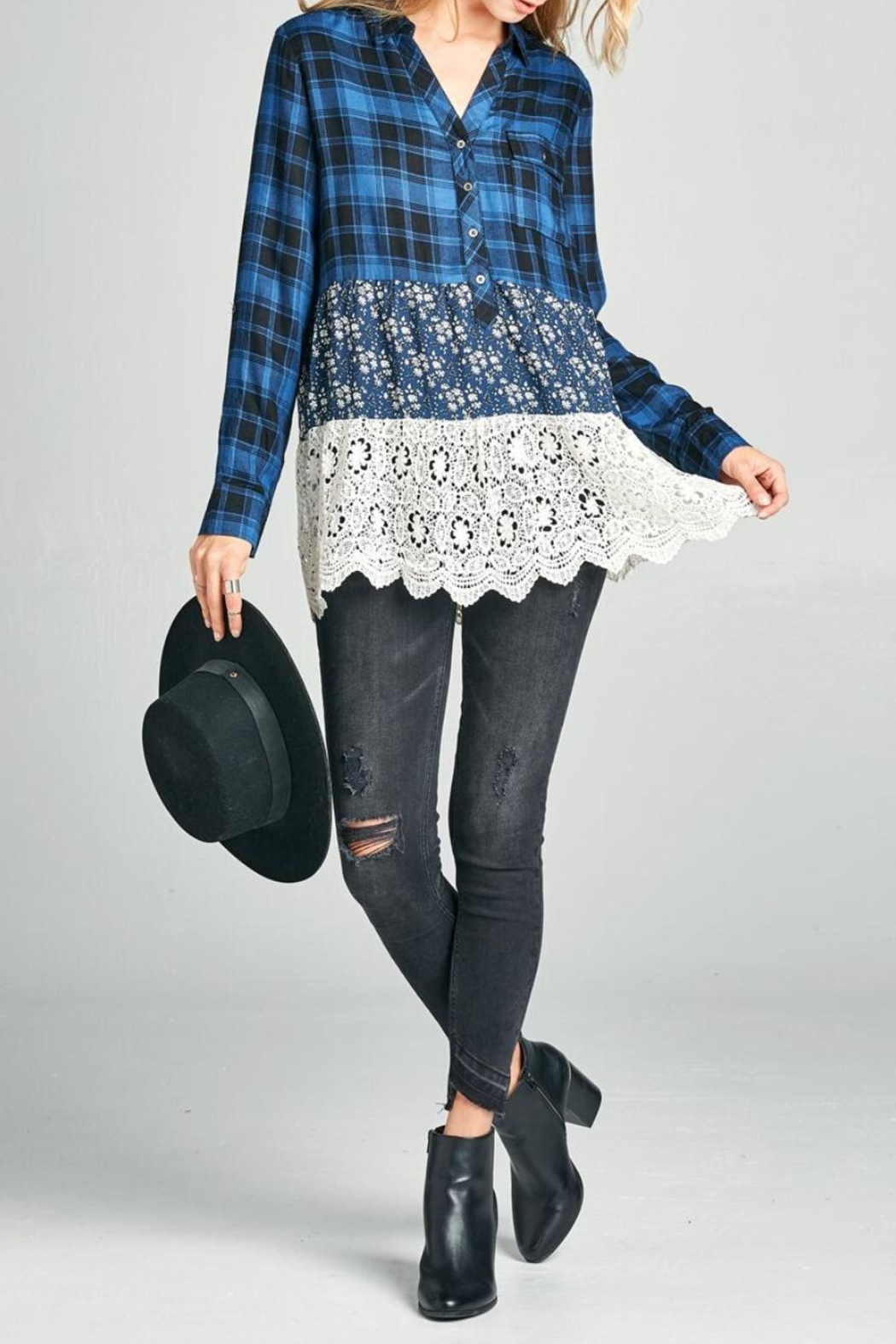 Oddi Scalloped Lace Plaid Top - Front Cropped Image