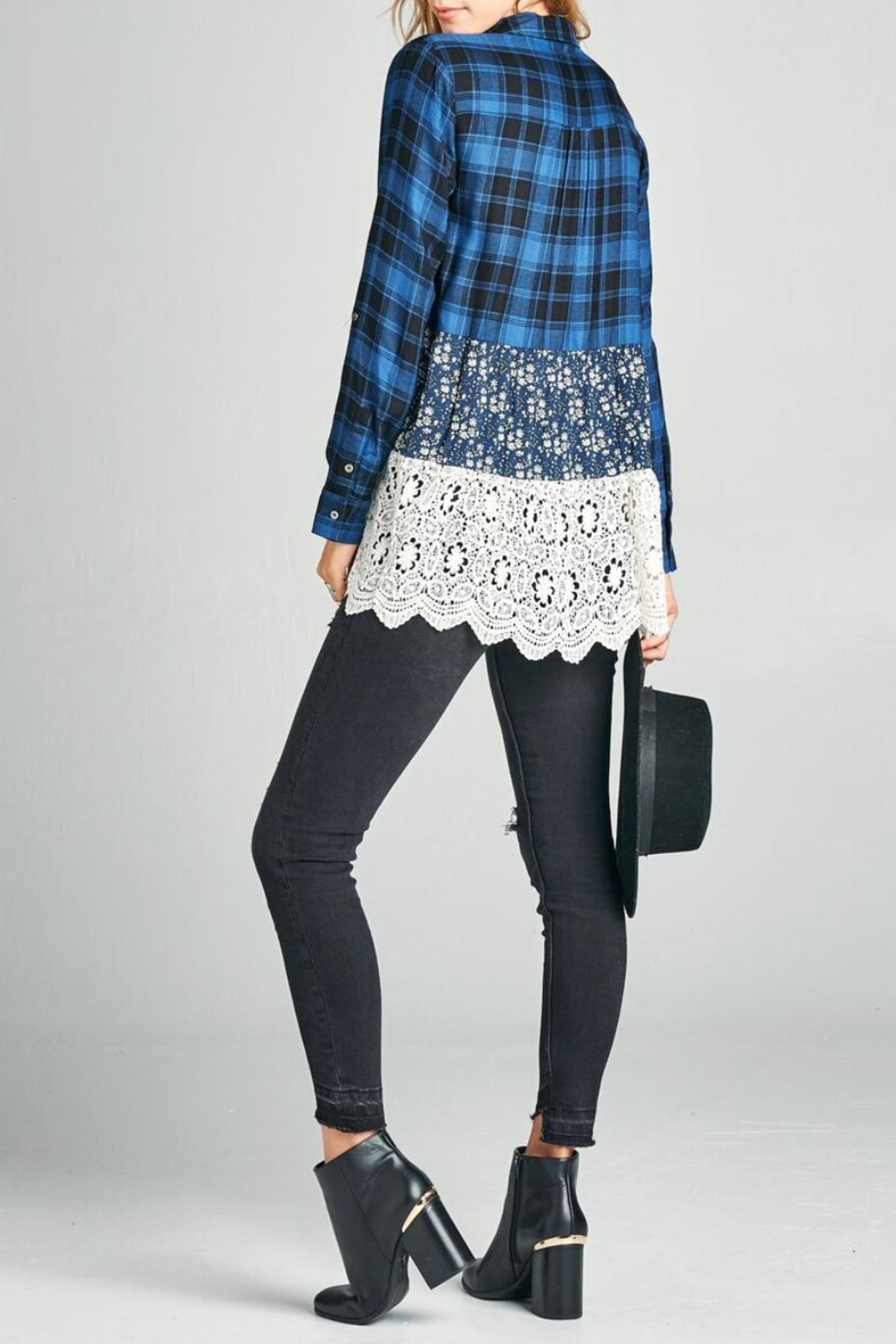 Oddi Scalloped Lace Plaid Top - Front Full Image