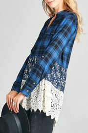 Oddi Scalloped Lace Plaid Top - Other