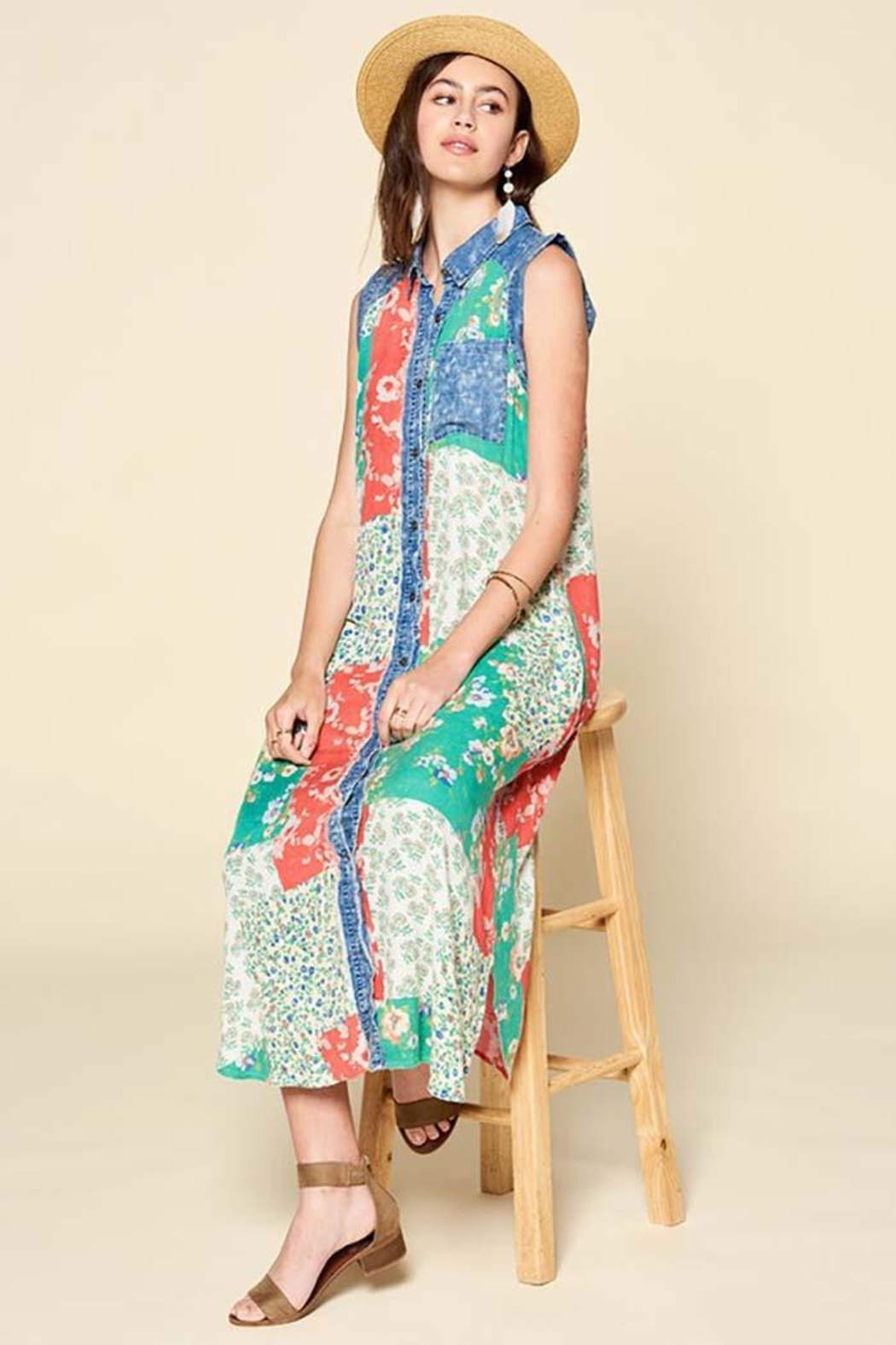 Oddi Sleeveless Mixed Patchwork Button-Down Maxi Dress - Side Cropped Image