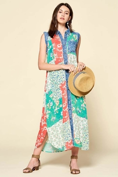 Oddi Sleeveless Mixed Patchwork Button-Down Maxi Dress - Product List Image