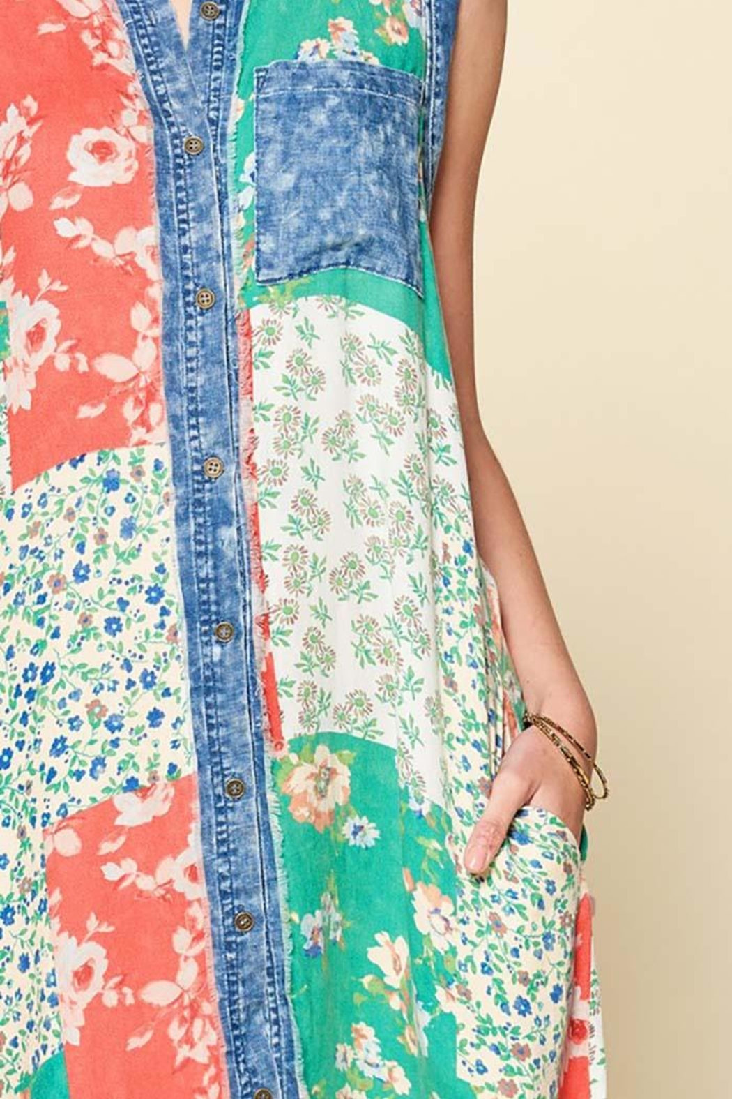 Oddi Sleeveless Mixed Patchwork Button-Down Maxi Dress - Front Full Image