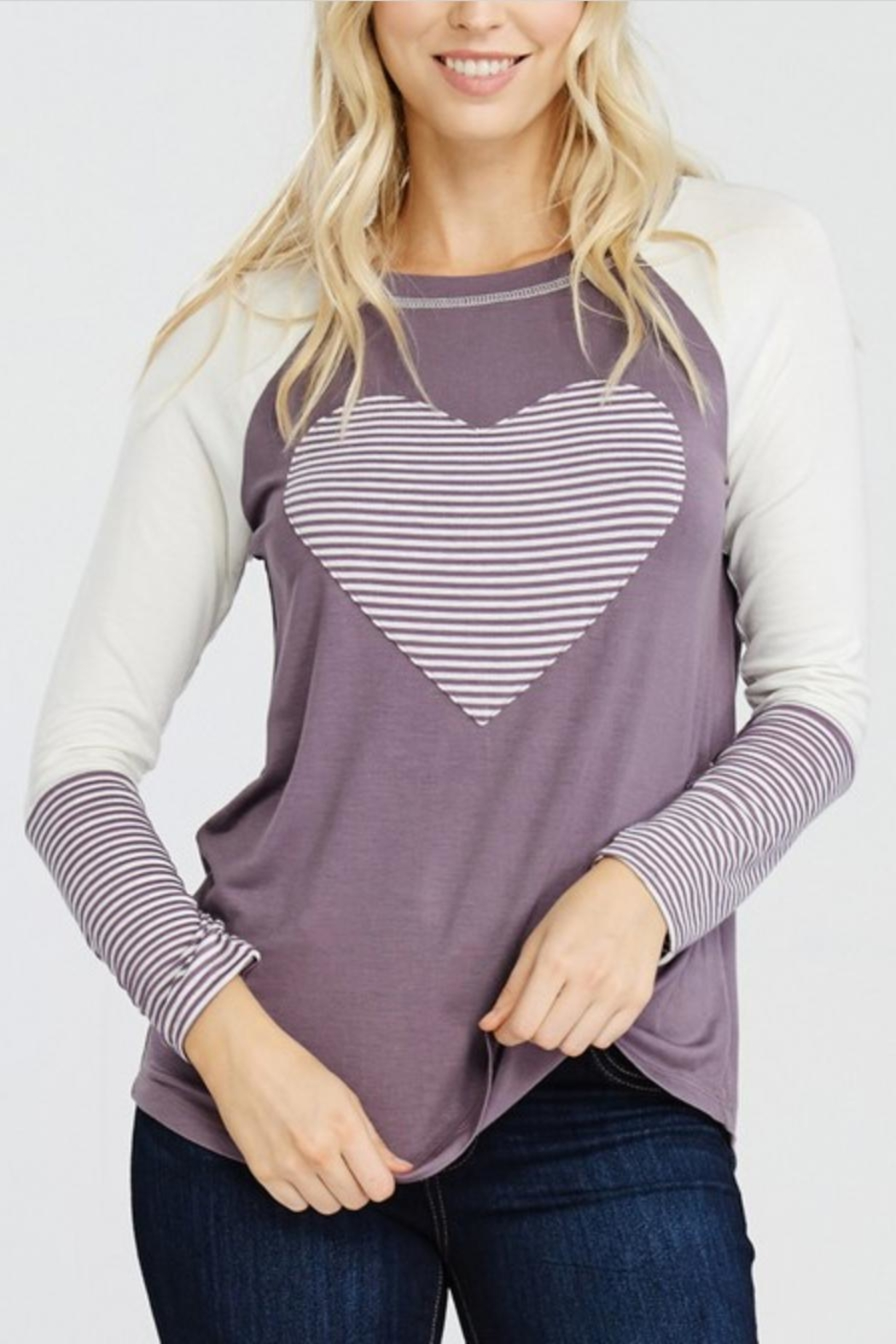 Oddi Striped Heart Top - Back Cropped Image