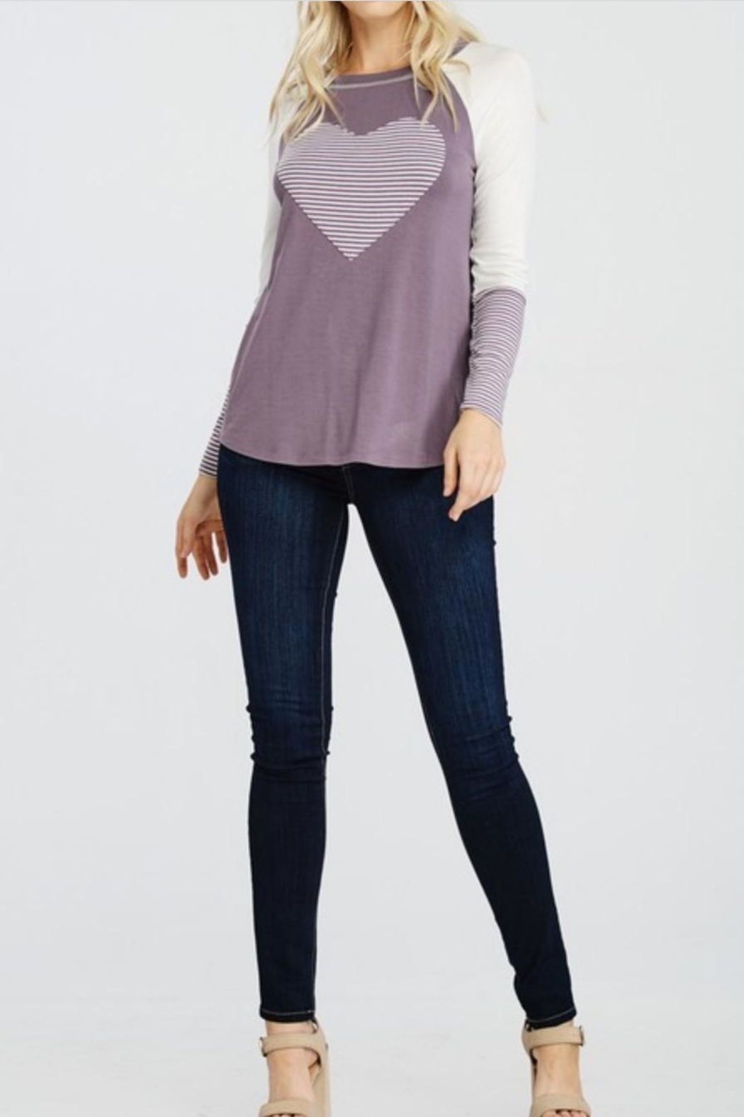 Oddi Striped Heart Top - Front Cropped Image