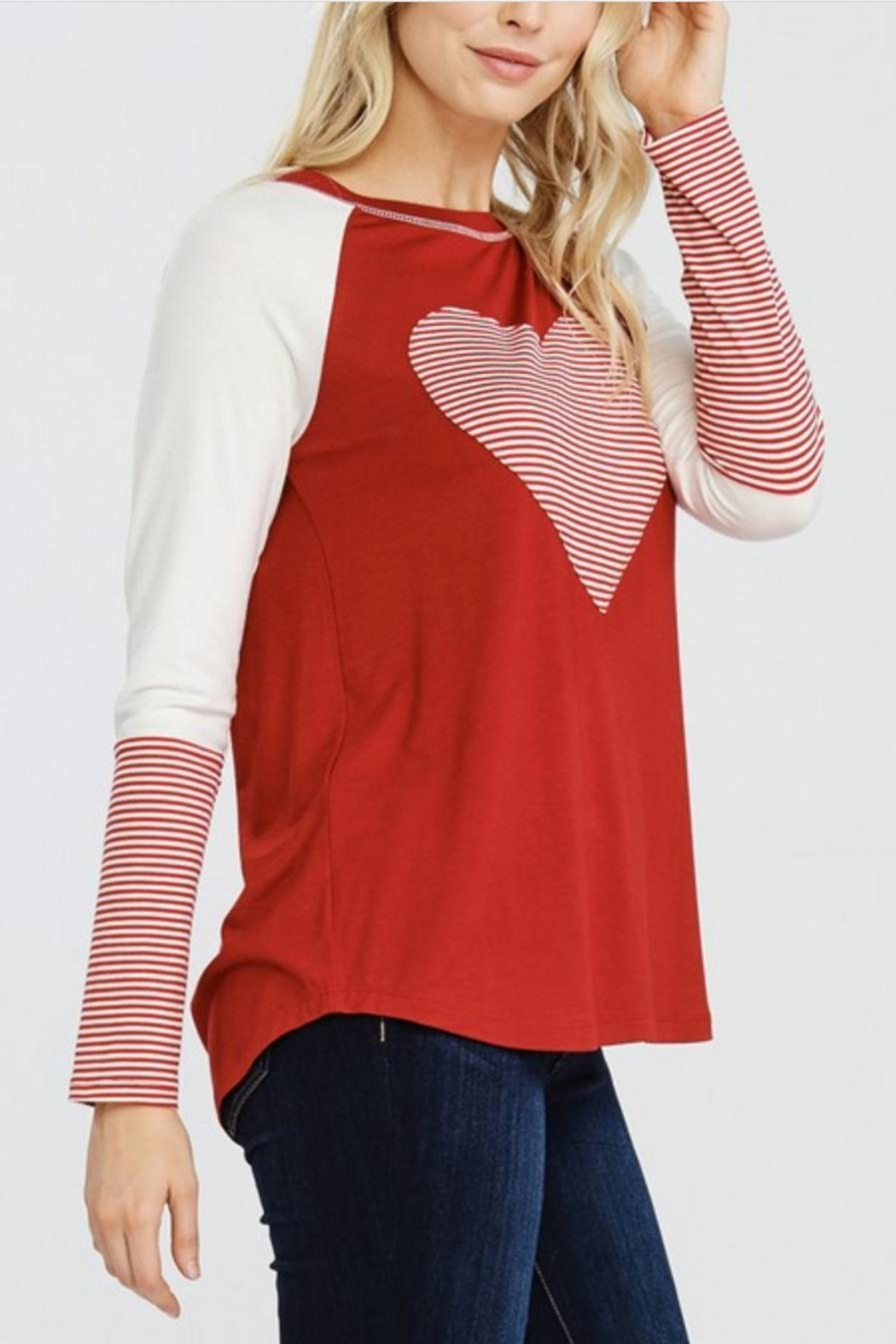 Oddi Striped Heart Top - Front Full Image