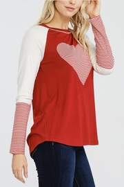 Oddi Striped Heart Top - Front full body