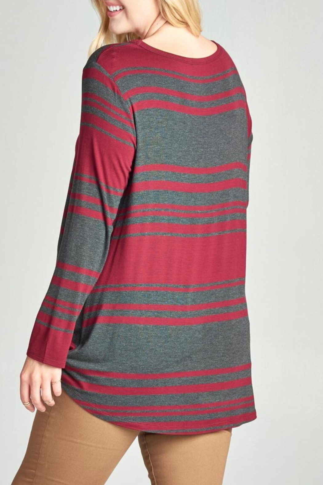 Oddi Striped Twist Top - Back Cropped Image
