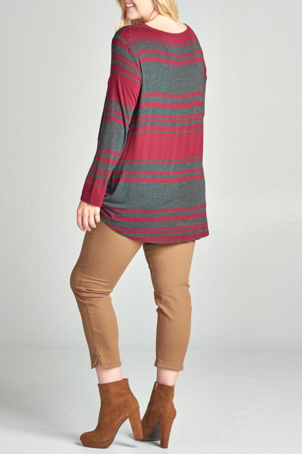 Oddi Striped Twist Top - Front Full Image