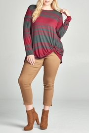 Oddi Striped Twist Top - Front cropped