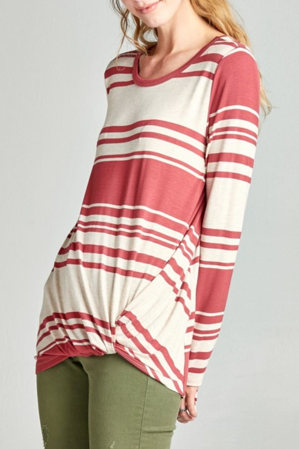 Oddi Twisted Striped Top - Side Cropped Image