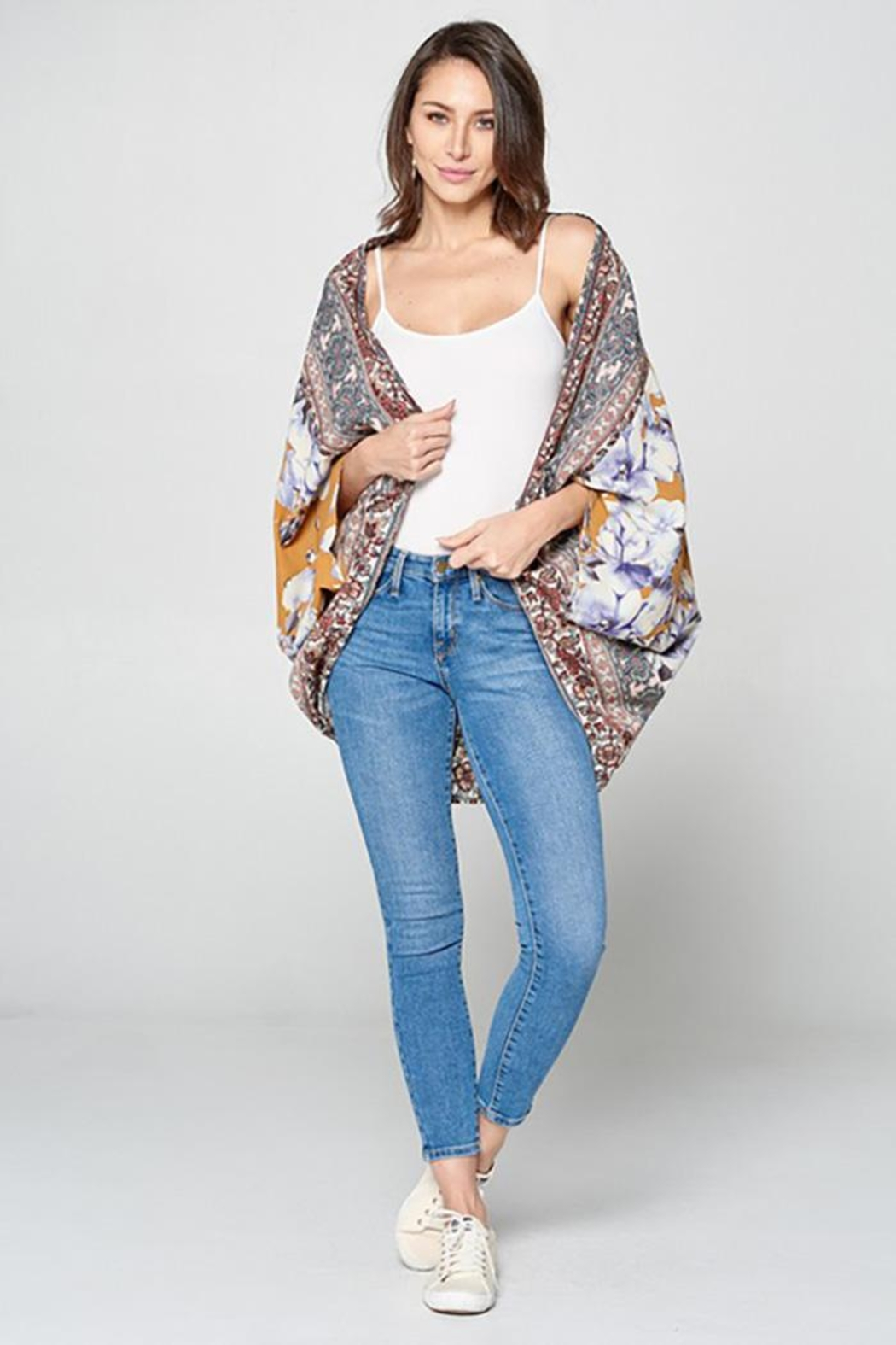 Oddy Floral Scarf Printed Woven Kimono - Back Cropped Image