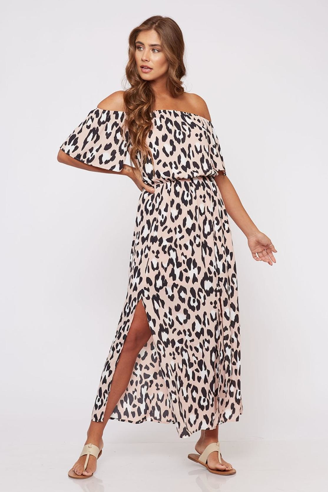 b4bdd0876487 Peach Love California Off-Shoulder Animal-Print Dress - Front Cropped Image
