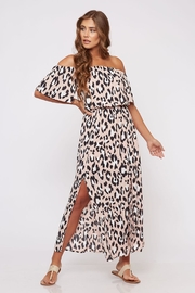 Peach Love California Off-Shoulder Animal-Print Dress - Product Mini Image