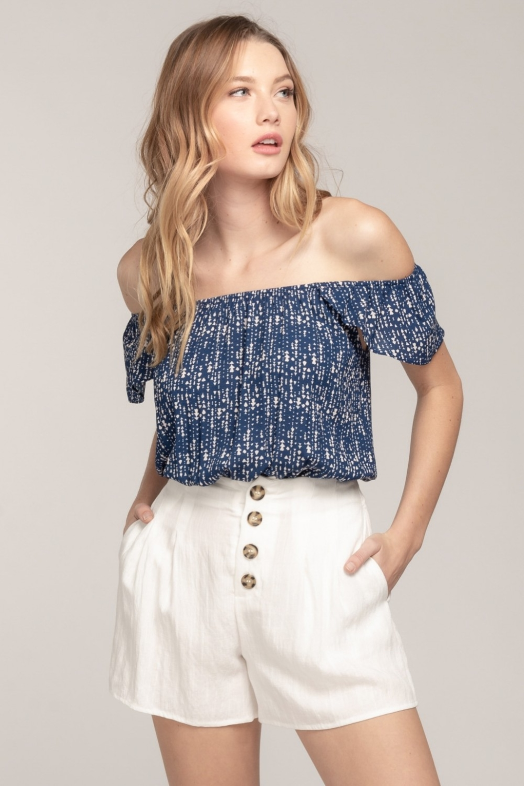 Everly Off Shoulder Arrow Top - Front Cropped Image