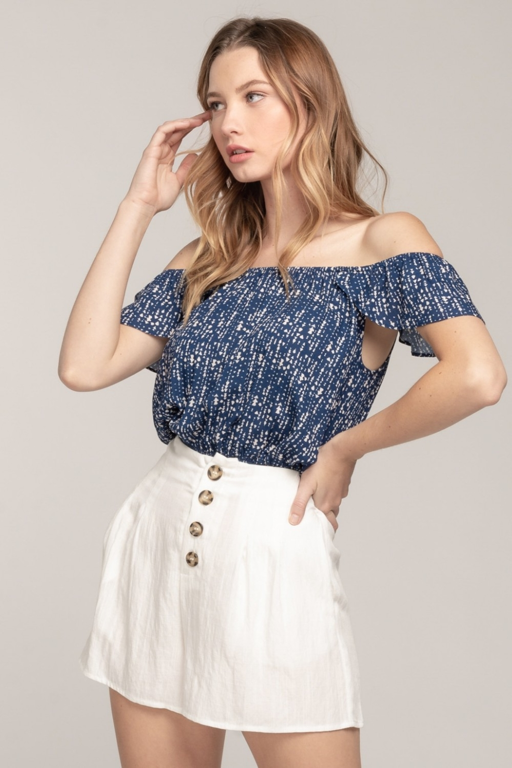 Everly Off Shoulder Arrow Top - Front Full Image