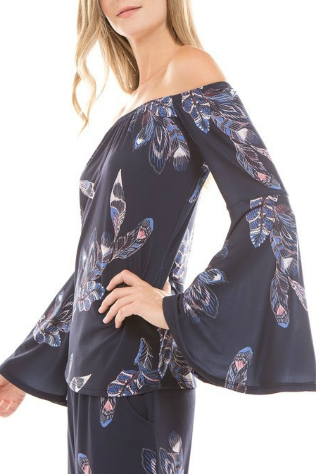 Vava by Joy Hahn Off Shoulder Bell Sleeve Top - Front Full Image