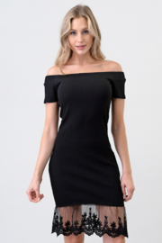 Hearts & Hips Off shoulder black ribbed dress - Product Mini Image