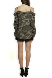 Dex Off Shoulder Camo Button Up - Front full body