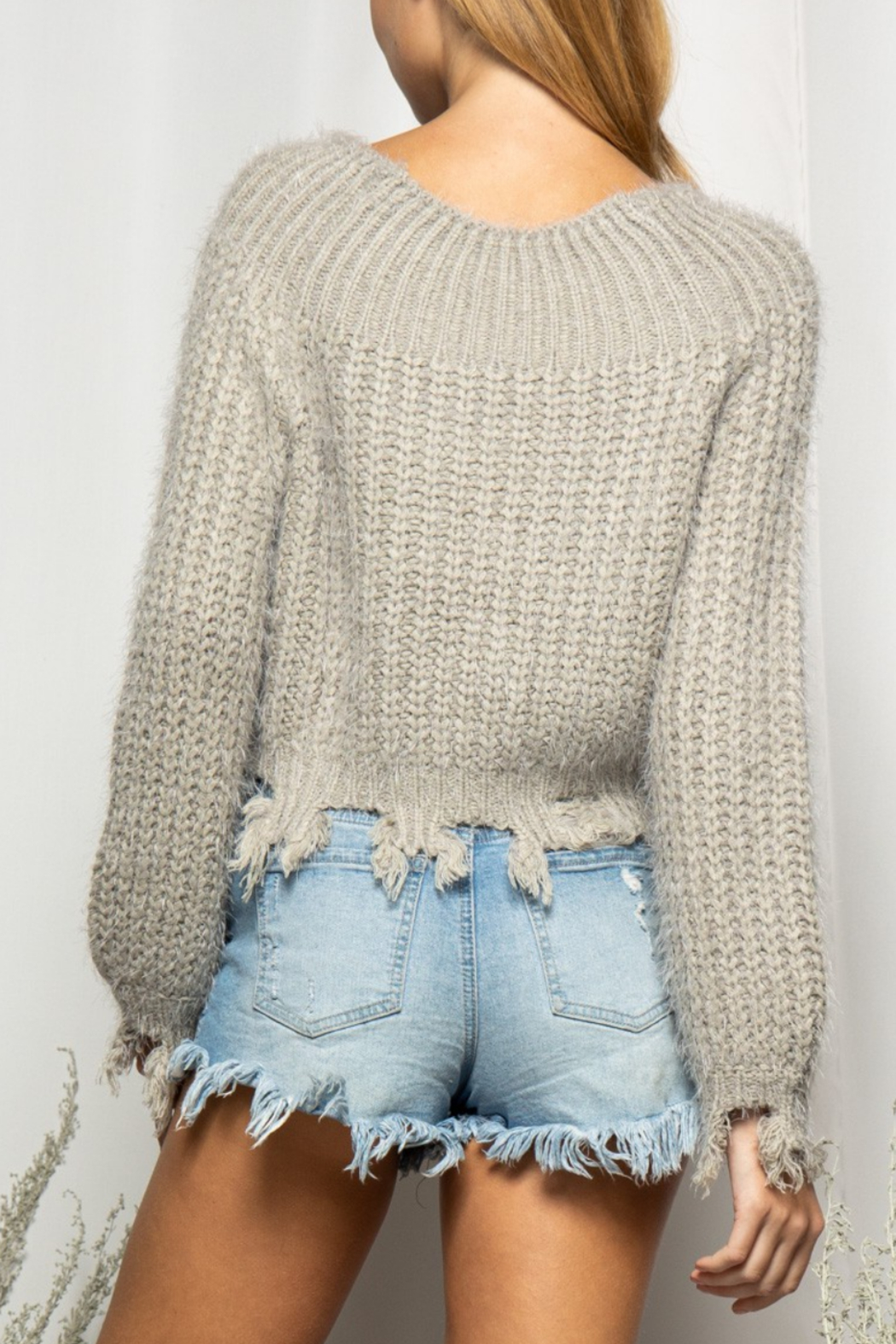 BaeVely Off Shoulder Distressed Sweater - Side Cropped Image