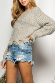 BaeVely Off Shoulder Distressed Sweater - Front full body