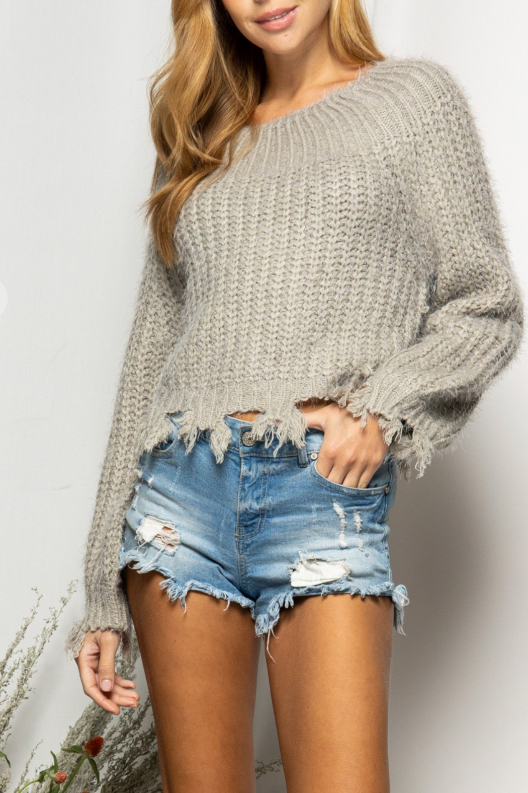 BaeVely Off Shoulder Distressed Sweater - Main Image