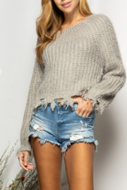 BaeVely Off Shoulder Distressed Sweater - Front cropped