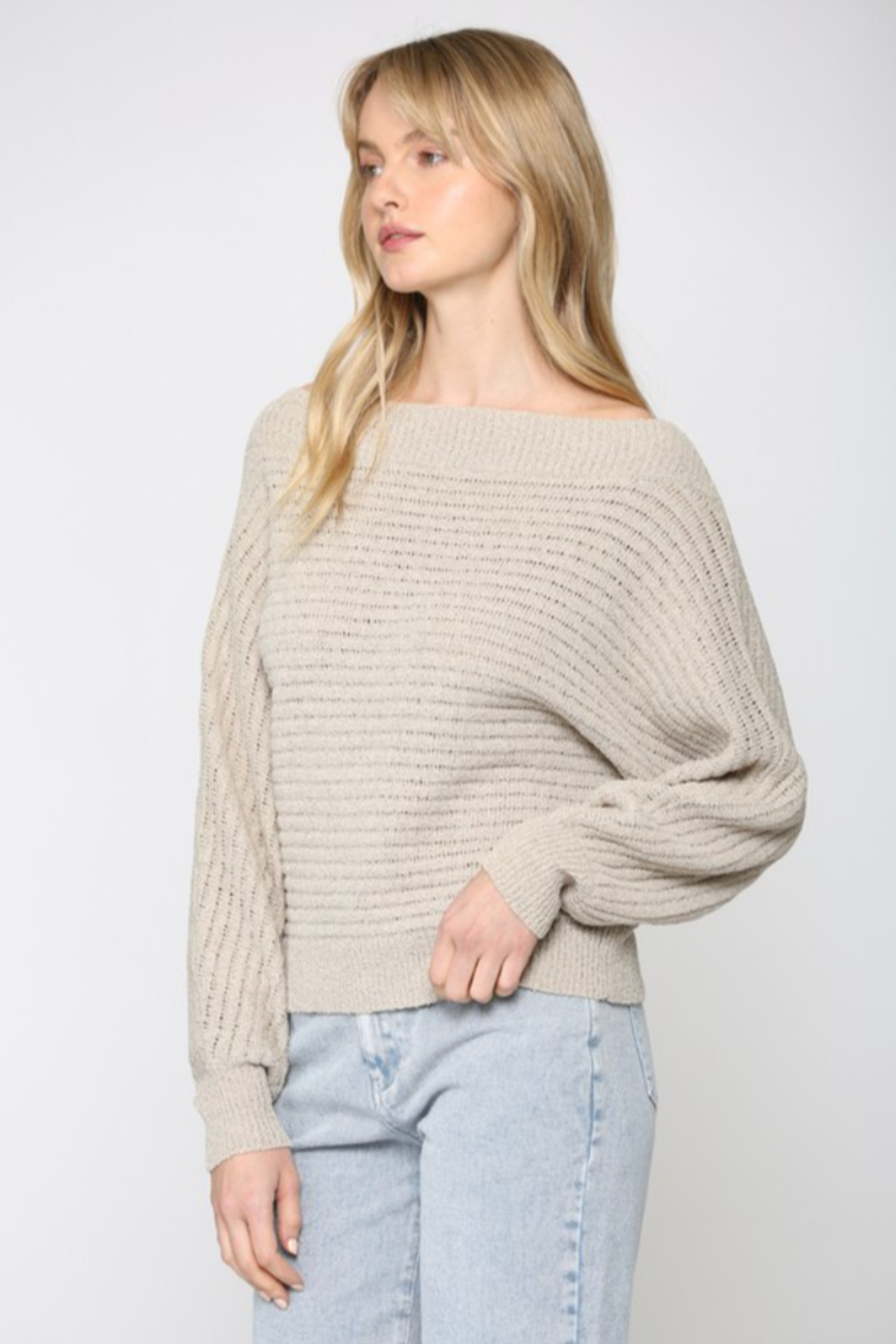 Fate Inc. Off Shoulder Dolman Sleeve Sweater - Front Full Image