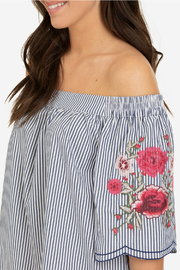 Tribal Off shoulder embroidered blouse - Front full body
