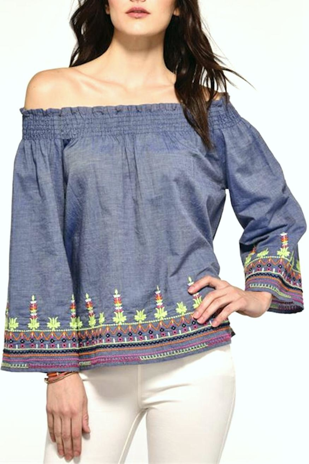 Charlie Paige Off-Shoulder Embroidered Top - Main Image