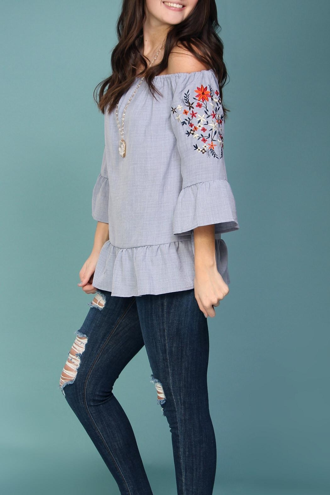 Listicle Off-Shoulder Embroidered Top - Side Cropped Image
