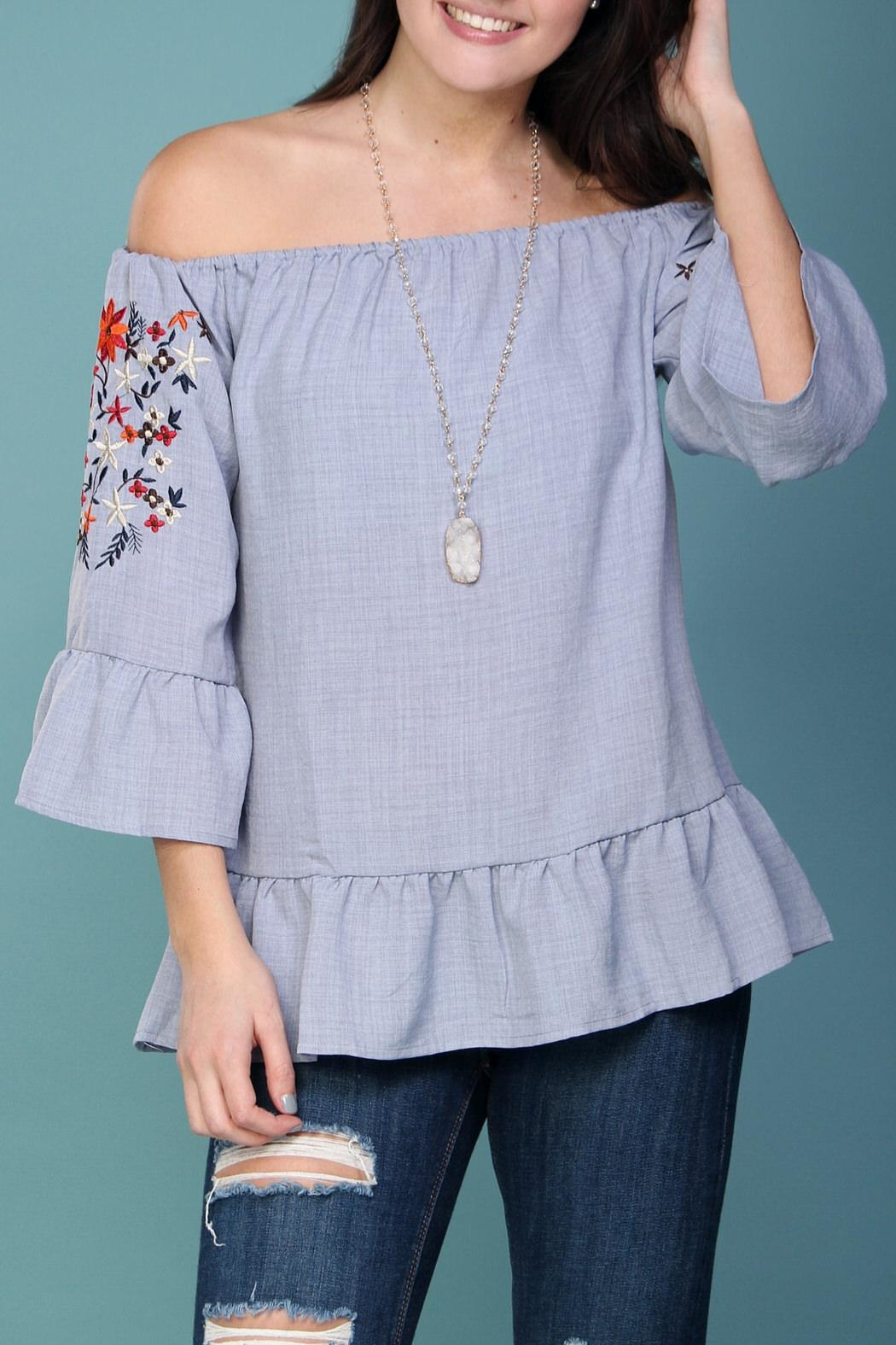 Listicle Off-Shoulder Embroidered Top - Front Full Image