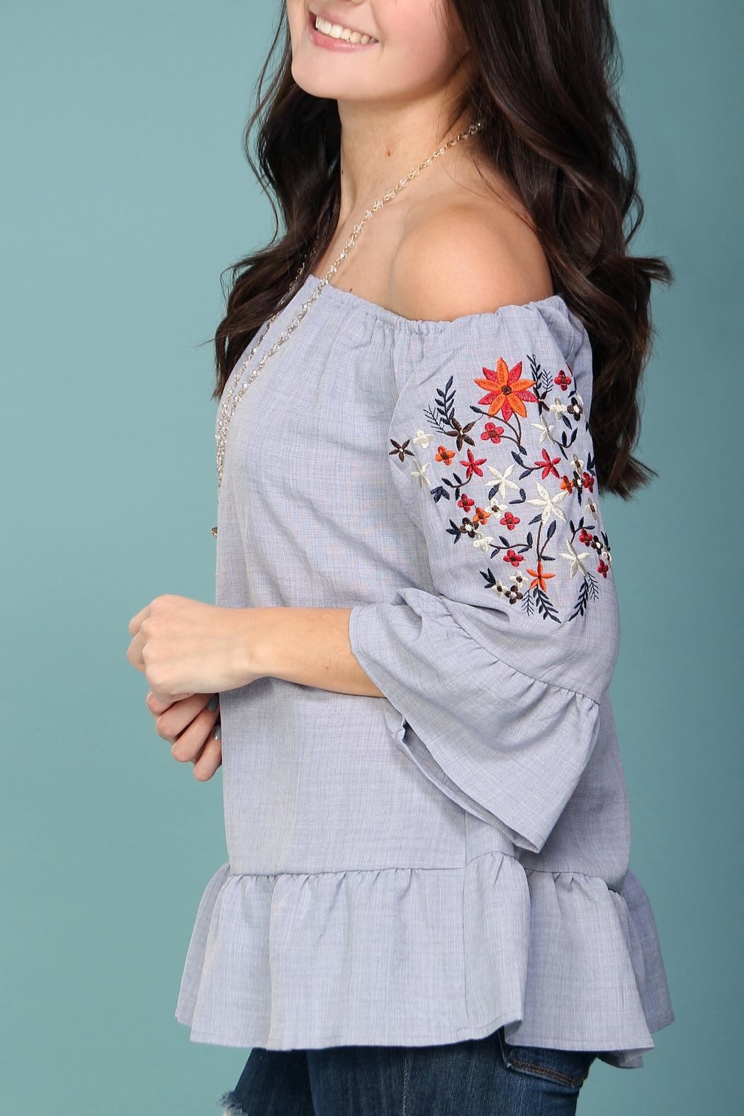 Listicle Off-Shoulder Embroidered Top - Back Cropped Image