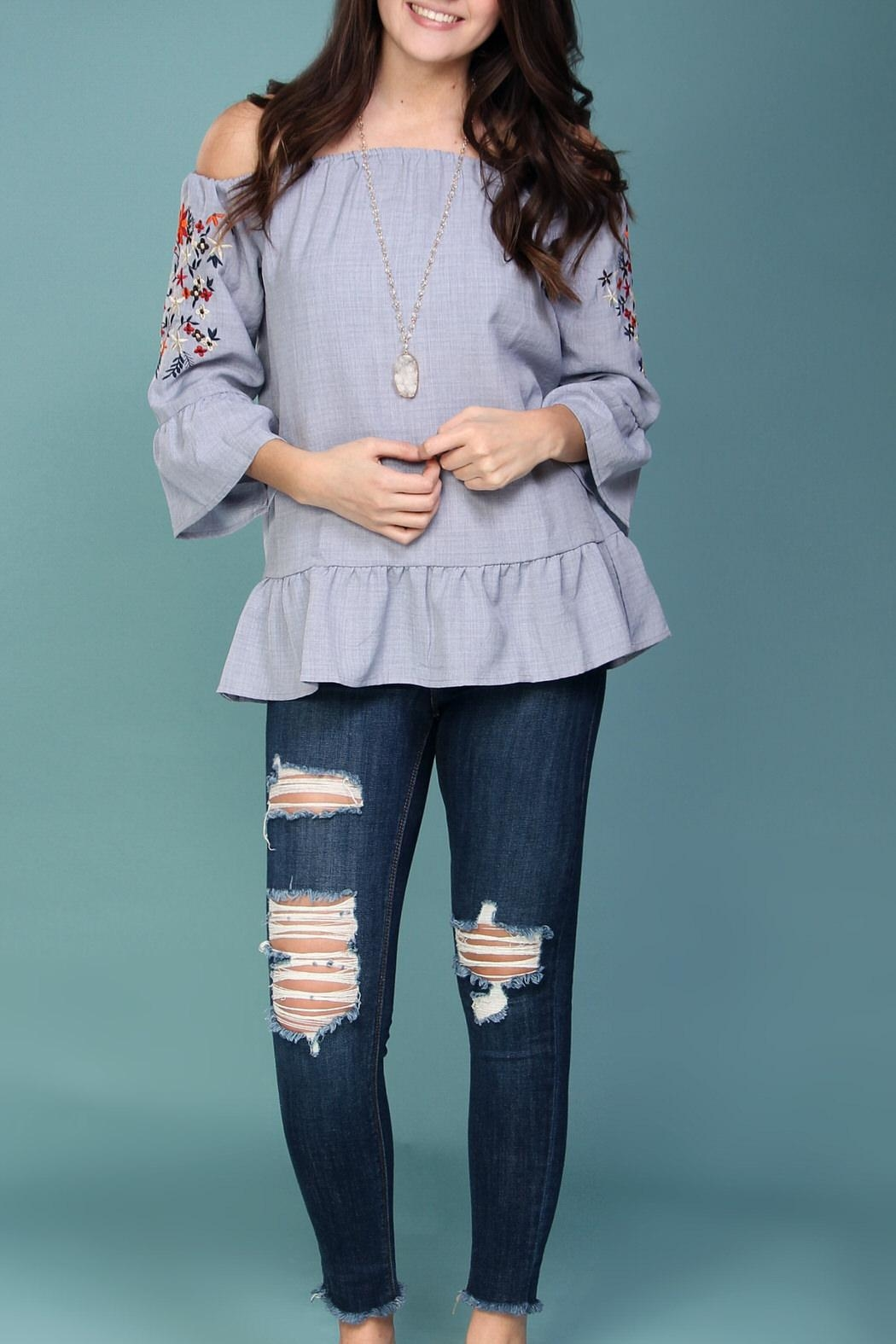 Listicle Off-Shoulder Embroidered Top - Main Image