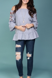Listicle Off-Shoulder Embroidered Top - Front cropped