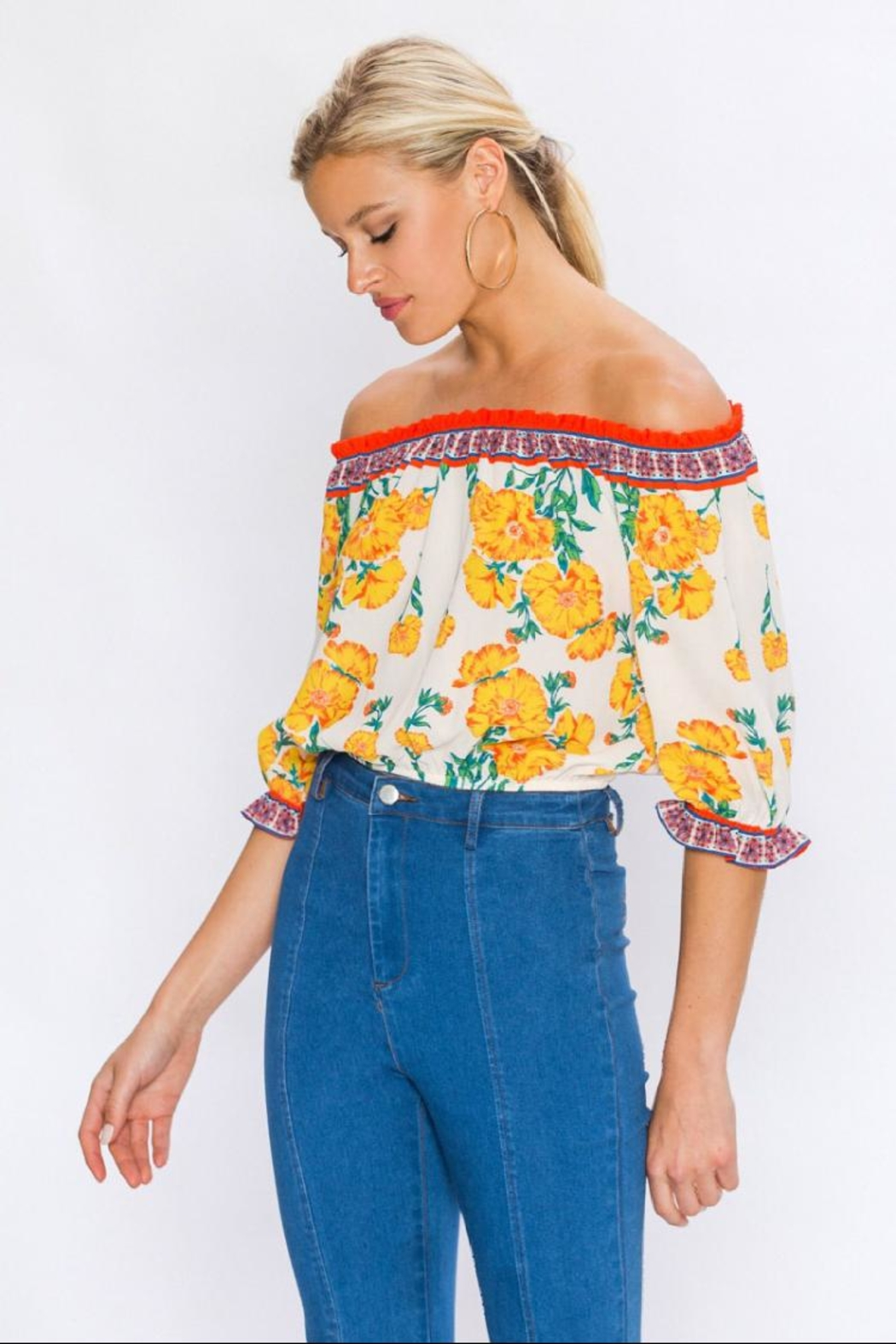 Flying Tomato Off-Shoulder Floral Top - Front Full Image